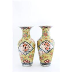 Pair 19th c. Japanese porcelain vase