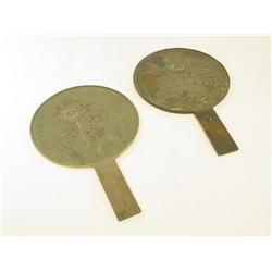 2 Japanese bronze mirrors