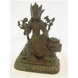 "Bronze ""Bodhavista Sitting on Foo Dog"""