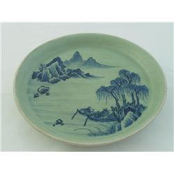 Celadon plate with Ming Dynasty mark