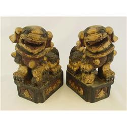 "Pair carved sandlewood ""Foo Dogs"""