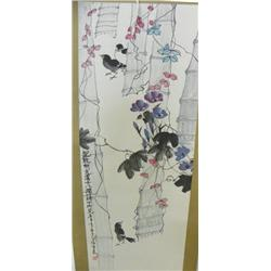 "Chinese scroll of ""3 Birds & Bamboo Trees"""