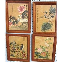 4 oak framed paintings on silk