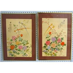 "Pair framed watercolor ""Floral & Bird"""