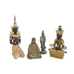 Group lot of 4 metal or bronze Buddhas