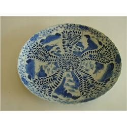 Blue & white Kangxi plate with 5 panels
