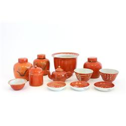Group lot of Chinese coral red porcelain ware