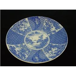 Blue & white scenic charger Kangxi Period Export