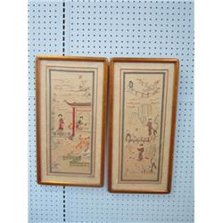 Pair Framed embroideries on silk