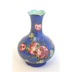"Qing Dynasty blue vase with ""Flowers"""