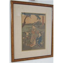 "Framed woodblock of ""3 Woman"""
