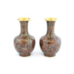 "Pair cloisonne vases of ""Flowers"""