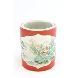 "Porcelain brush pot of ""House & Landscape"""