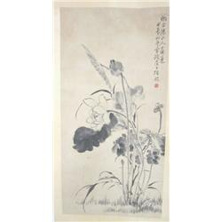 "19th c. Chinese scroll ""Lotus"""