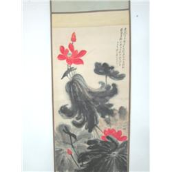 "Chinese scroll ""Lotus"" black & white"