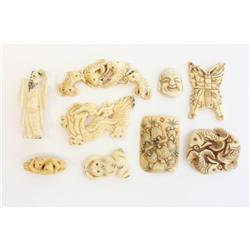 9 carved bone & ivory pieces