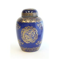19th c. Chinese blue & gold ginger jar