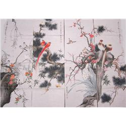 """Set of 4 soft paper drawings """"Birds in Trees"""""""