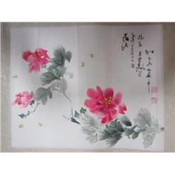 "Chinese scroll of ""Flowers & Bees"""