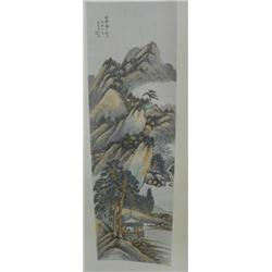 "Chinese scroll ""Landscape, Man in a House"""