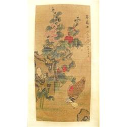 "Chinese scroll of ""Rooster & Baby Chicks"""