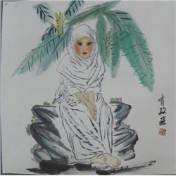 "Chinese scroll of ""Seated Woman"""