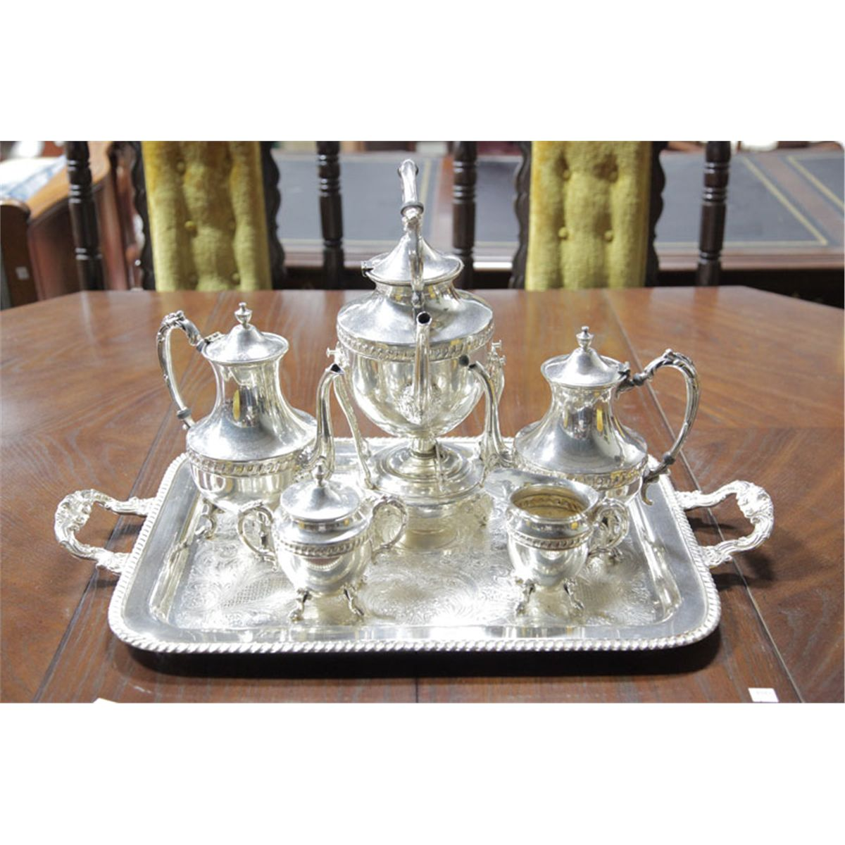 Six Piece Silver Plated Tea Set On Copper And Including Water Pot With Burner 14 1 4 H Co