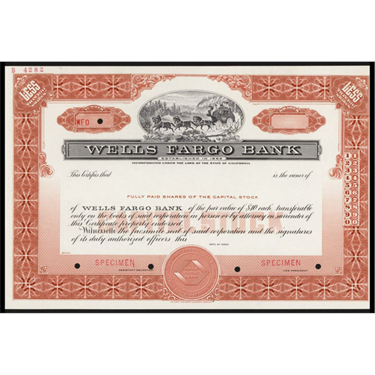 Wells Fargo Bank Specimen Stock Certificate Wiring Money To Account