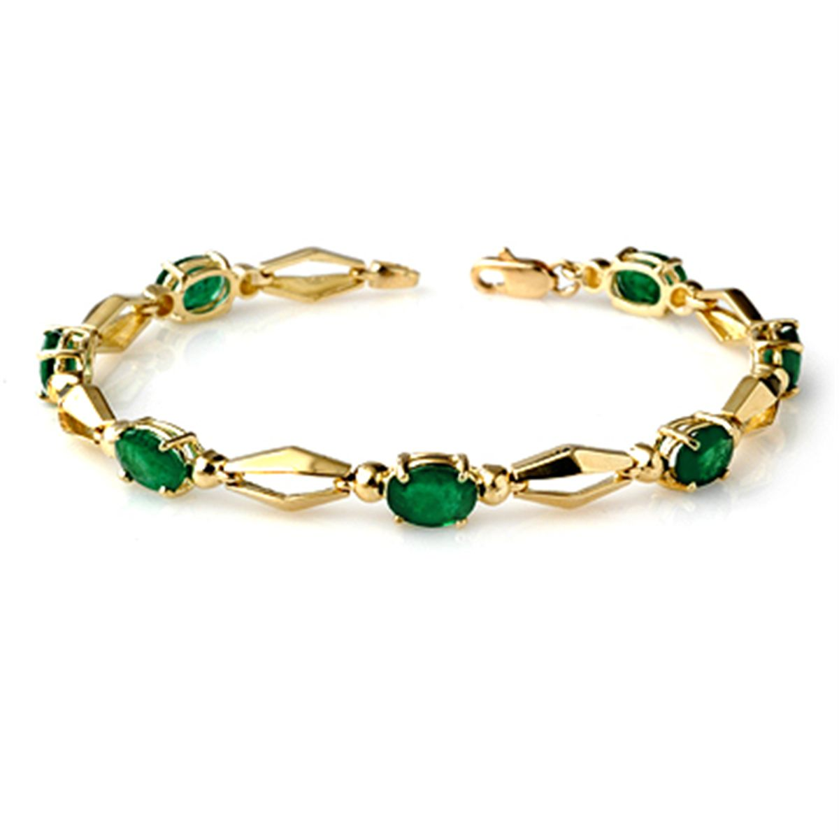 Well-known Genuine 5.0 ctw Emerald Bracelet 10K Yellow Gold CU59