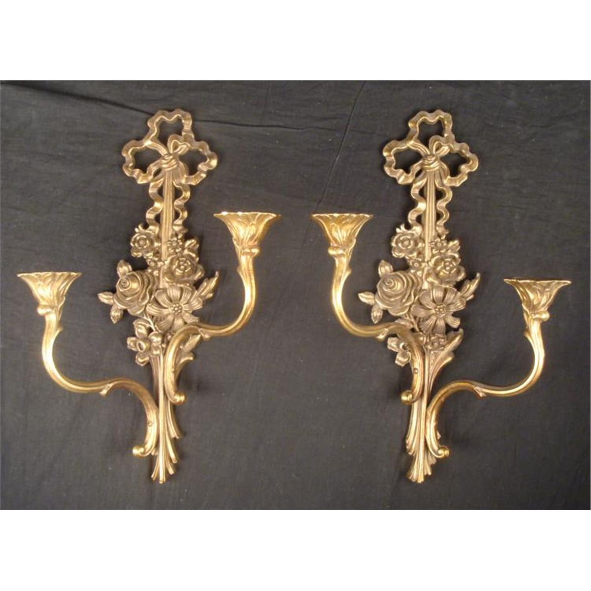 wall mounted candle holders 2 Candle Holders   Wall Mounted Syroco Wood Art Nouveau wall mounted candle holders