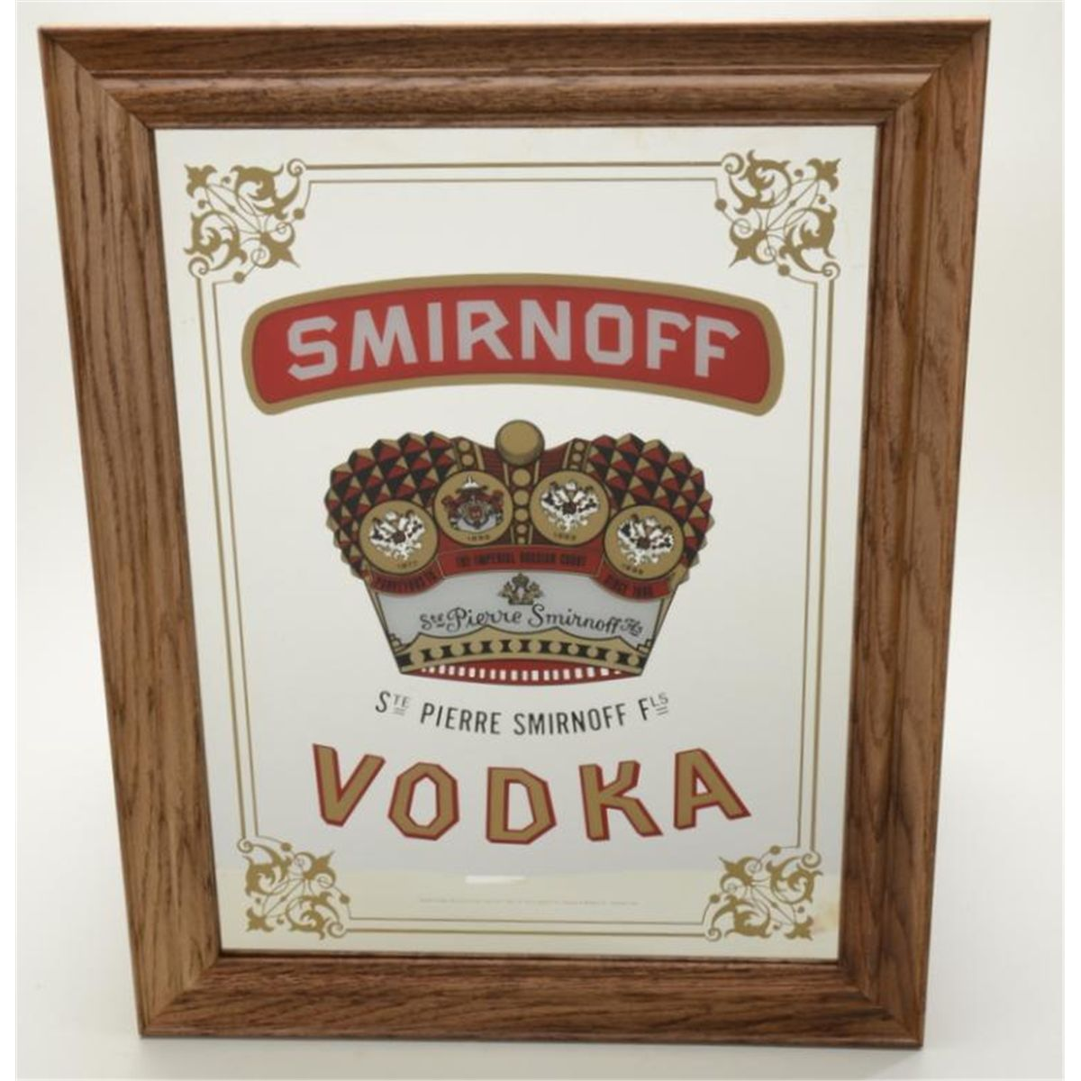 Nicely Made Large Oak Framed Smirnoff Vodka Bar Mirror Rox 24 X 18 In Overall Fine Conditio