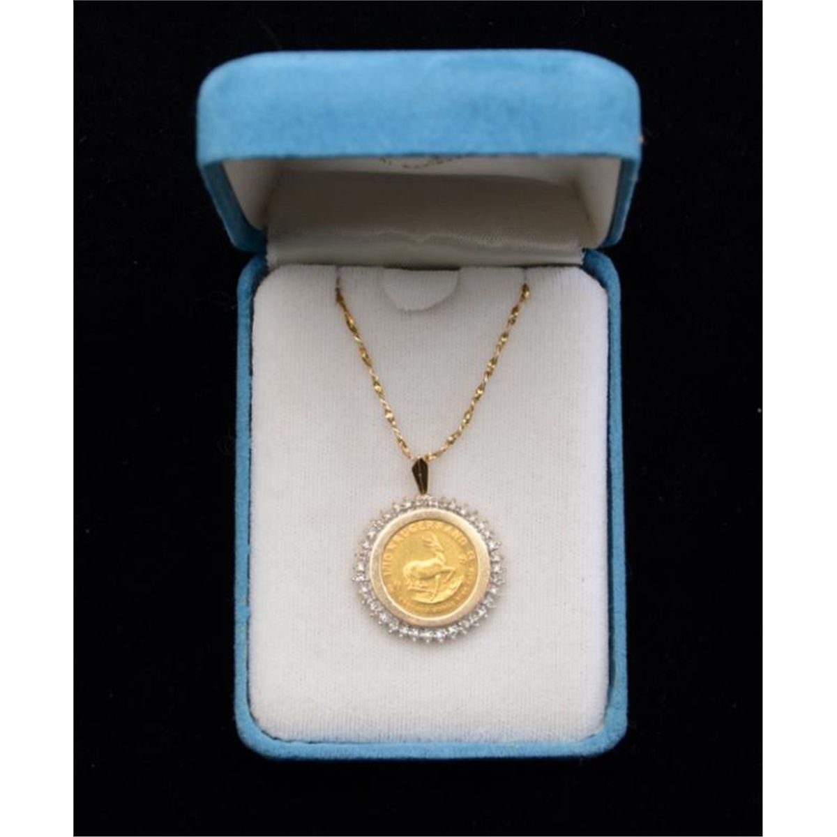 One 1 10 Krugerrand Fine Gold Coin Set In A Diamond Bezel With 14k Chain Wt 0 30ct E