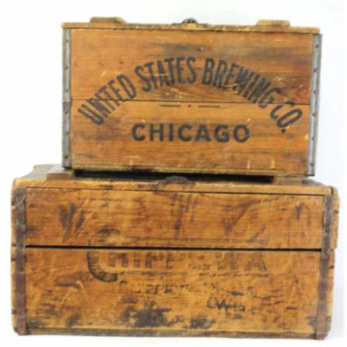 2 Wooden Advertiser Beer Crates 1 Crate Marked United States Brewing Co With Great Old Character In