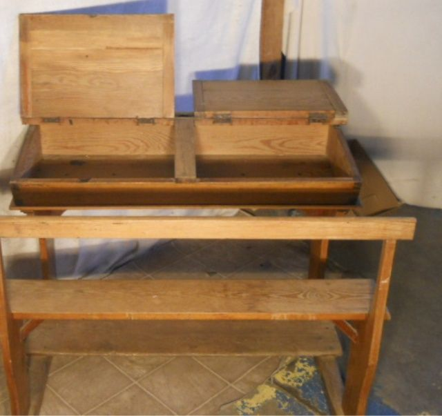 Image 3 Antique Solid Wood School Desk Bench With