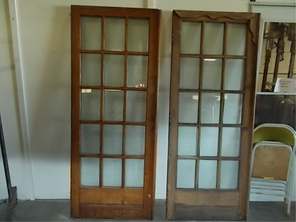 Image 1 Pair French Doors With 15 Gl Panes Vintage Oak Panel