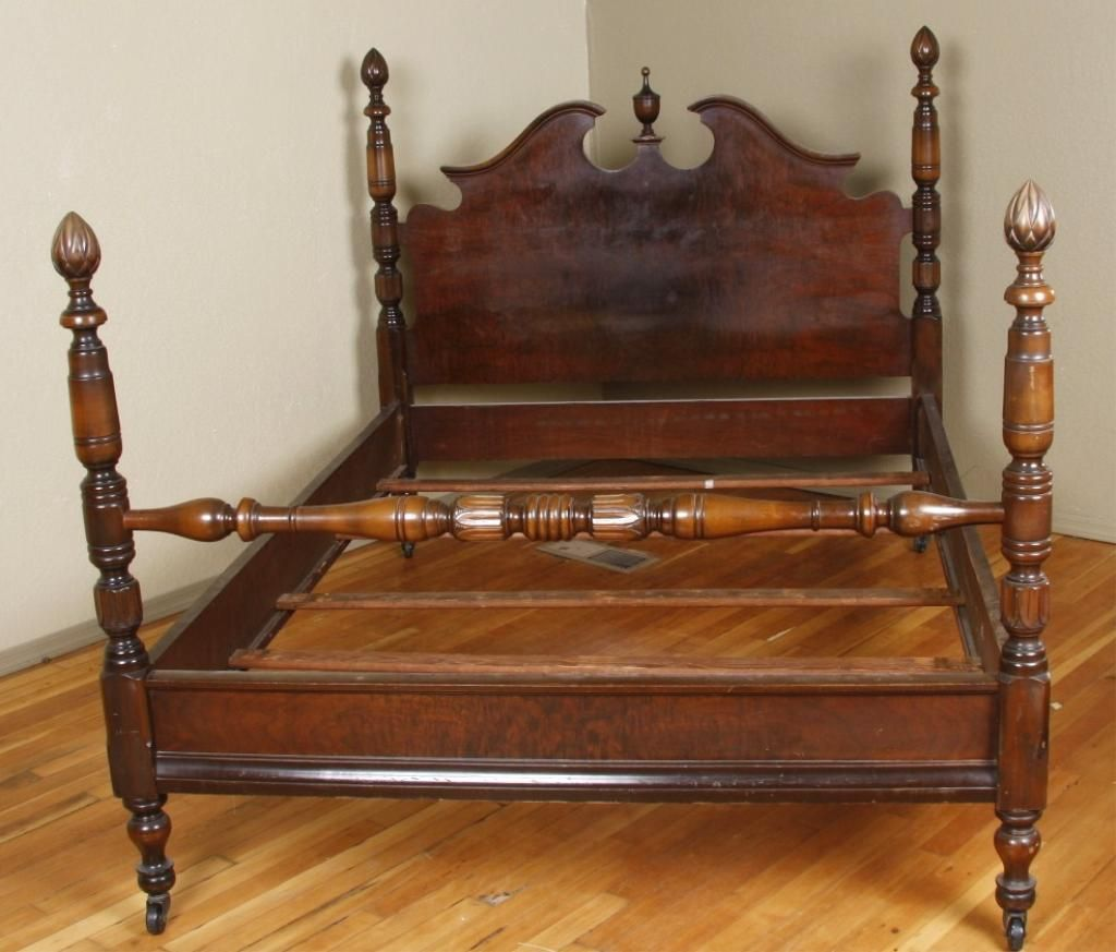 antique 4 poster bed Walnut Acorn 4 Poster Bed FrameOverall fair to good condition antique 4 poster bed