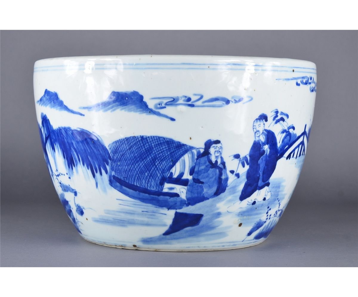 Chinese Kangxi Style Blue White Fish Bowl Loading Zoom