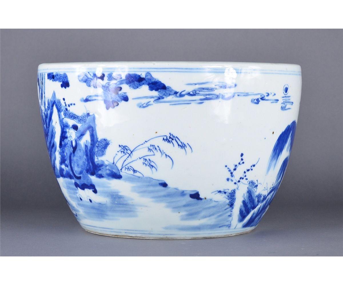 Image 2 Chinese Kangxi Style Blue White Fish Bowl