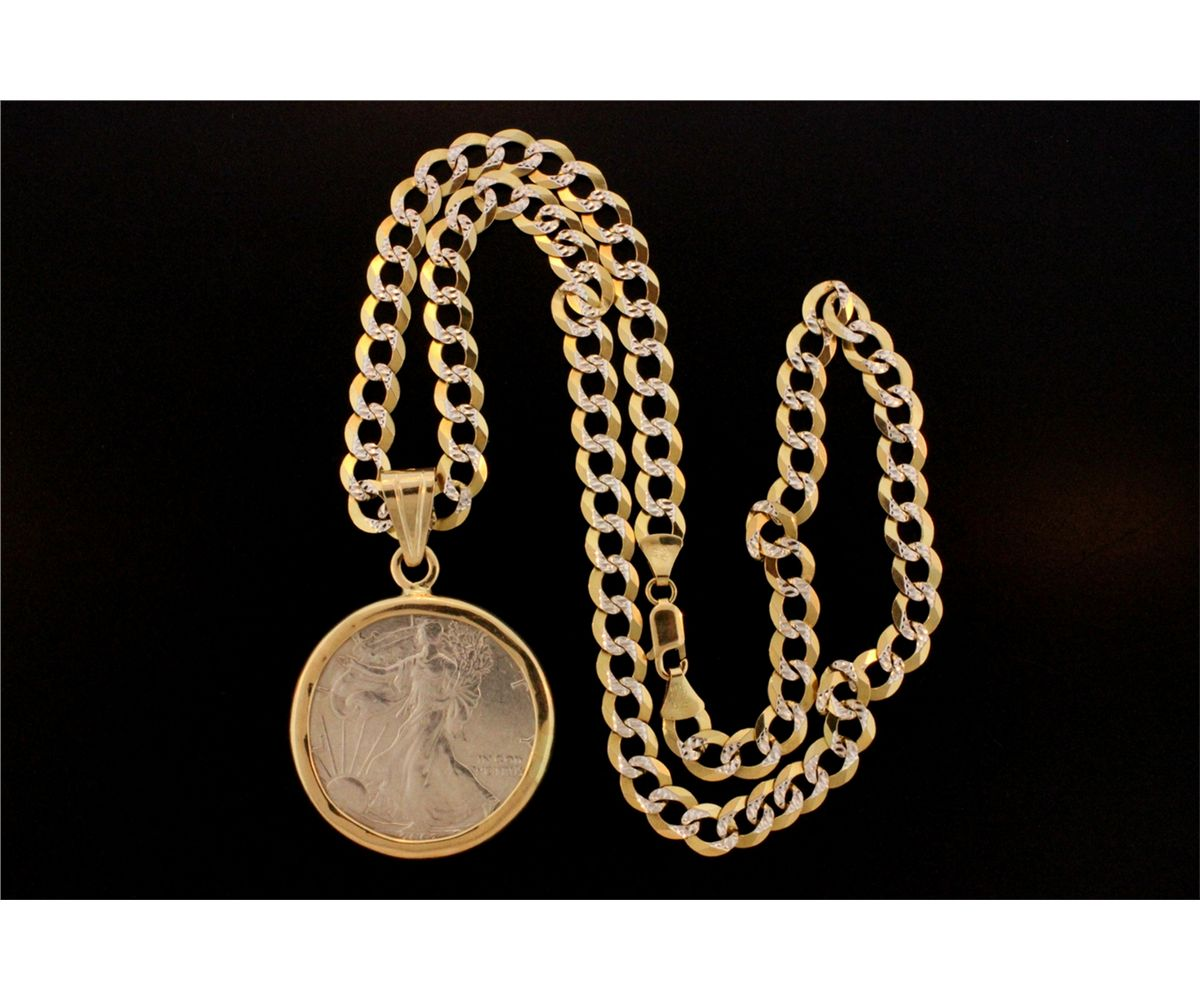 JEWELRY: US silver dollar coin pendant and chain - Gaston