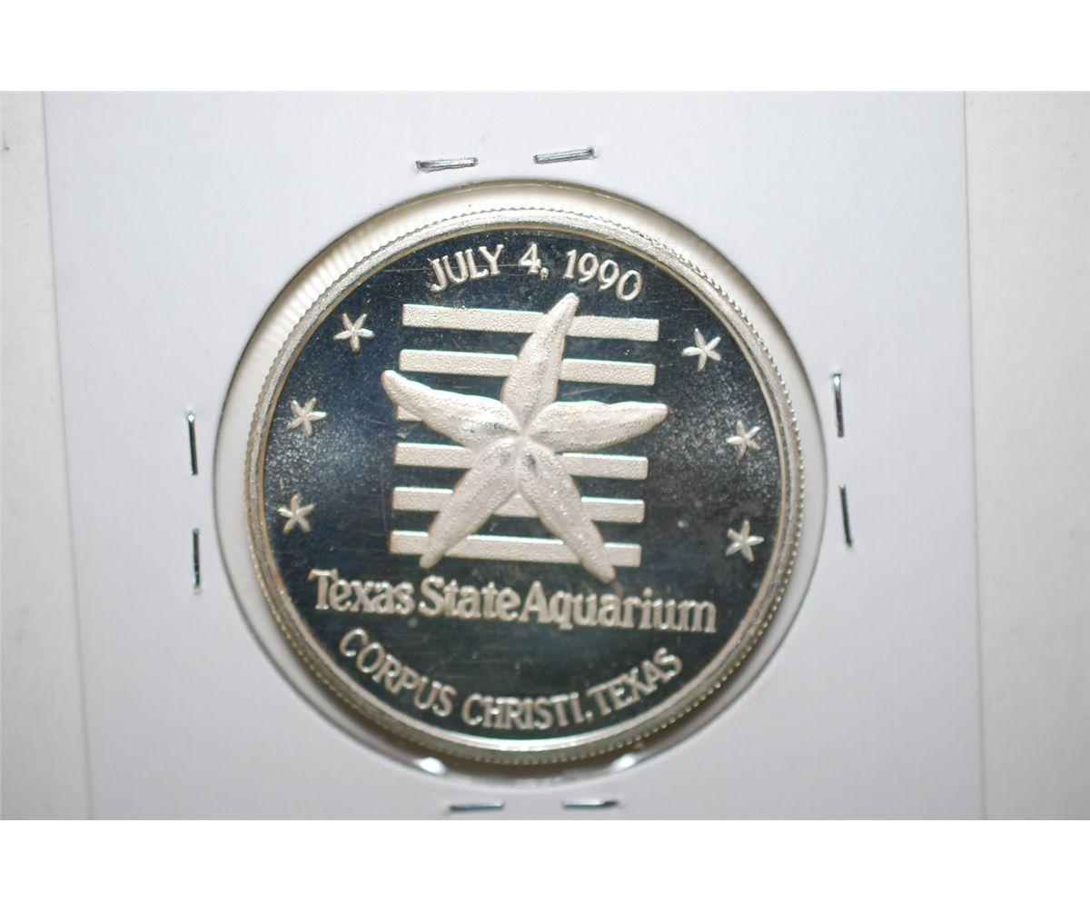 Image 2 1990 Texas State Aquarium Silver Round 999 Fine 1 Oz