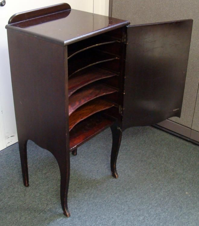 mahogany record empire antique picked cabinet vintage