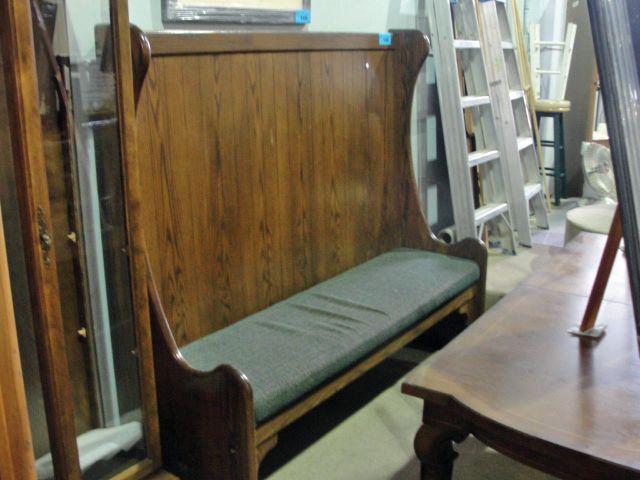 Image 1 Oak High Back Bench Seat