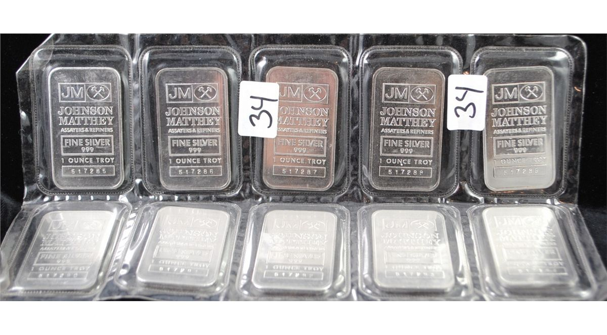 Image 1 Ten Johnson Matthey Troy Ounce 999 Fine Silver Bars