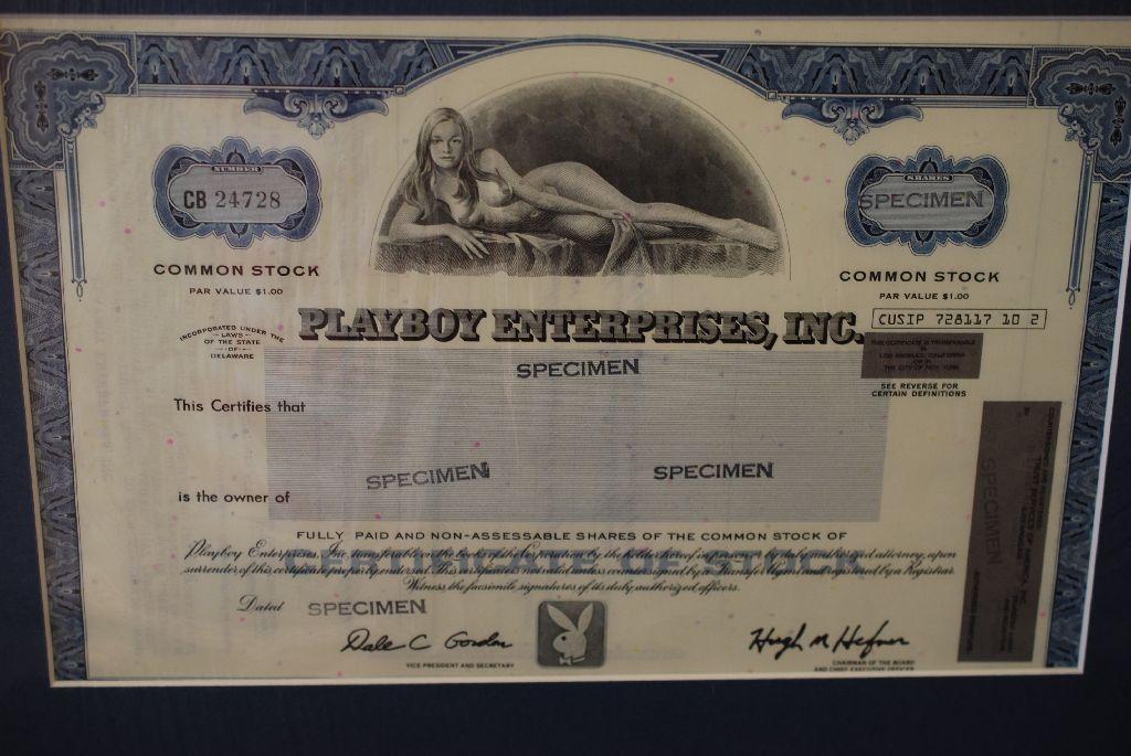 Popular Playboy Enterprises Inc. Stock Certificate In Matted Frame Sealed  HG19