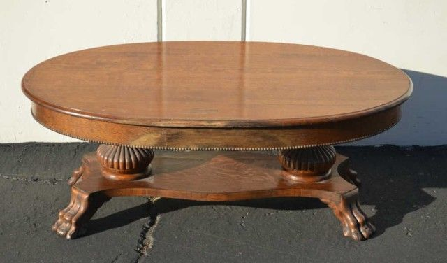 Image 1 Antique Quarter Sawn Oak Claw Foot Oval Coffee Table Rox