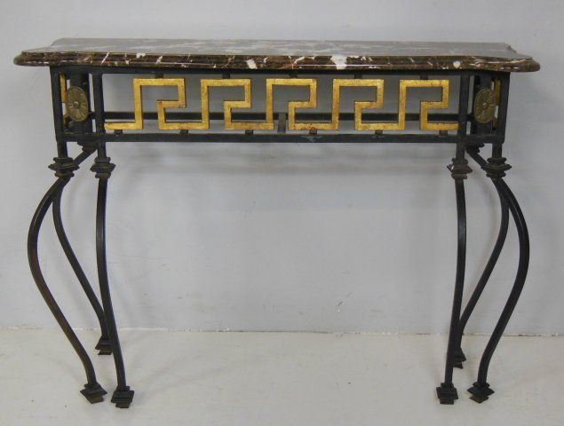 Image 3 Burgundy Marble Top Wrought Iron Console Table
