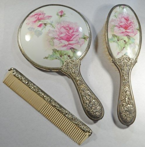 Vintage Vanity Set Includes Mirror, Brush, and Comb