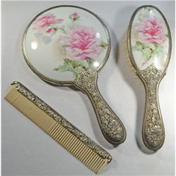 vintage vanity set includes mirror brush and comb 87983