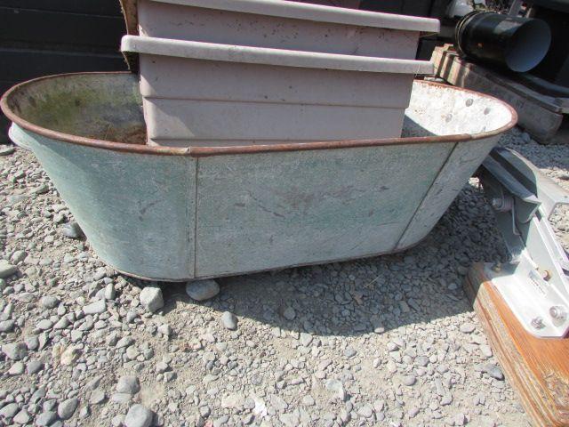 Image 1 Vintage Galvanized Oval Baby Wash Tub