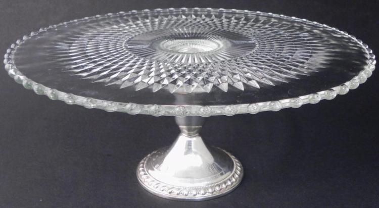 Image 1 Duchin Creations Crystal Sterling Silver Cake Stand